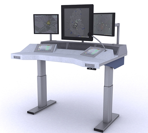 Console with adjustable desk top
